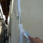 割れた外壁コーキングの補修とシリコン塗装 宝塚市